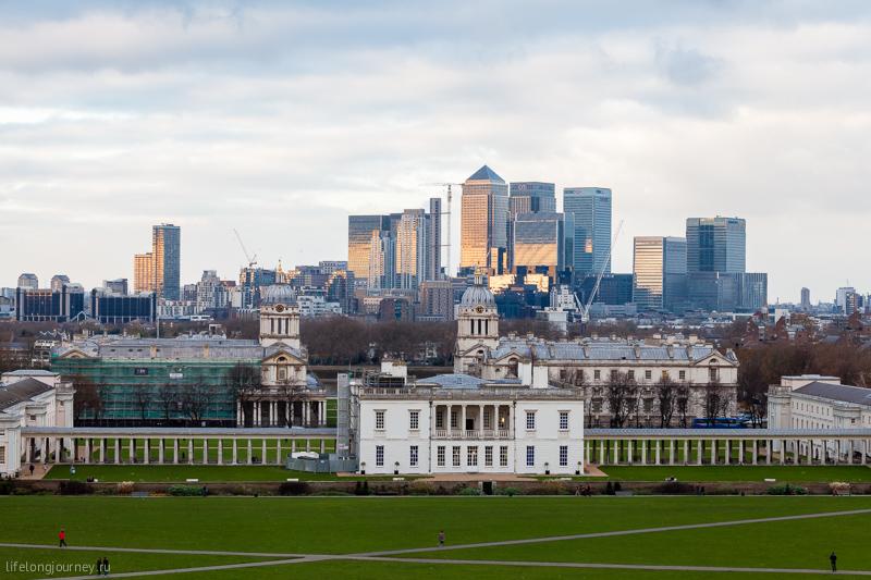 Вид на сити Лондона из Гринвичский обсерватории